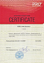 Сертификат компании PRO intellect technolgy
